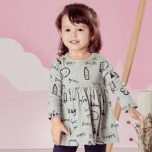 Toddler Girls Letter Graphic Tee Dress