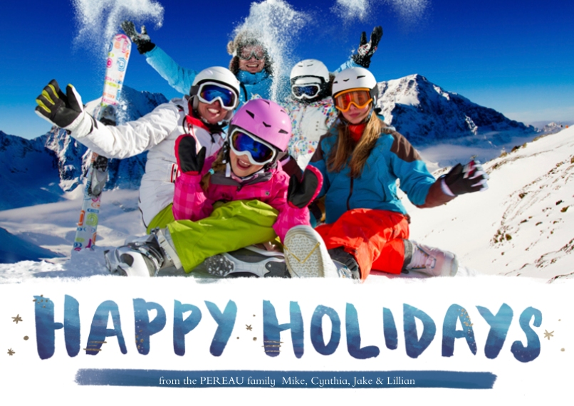 Holiday Photo Cards Flat Glossy Photo Paper Cards with Envelopes, 5x7, Card & Stationery -Indigo Blues