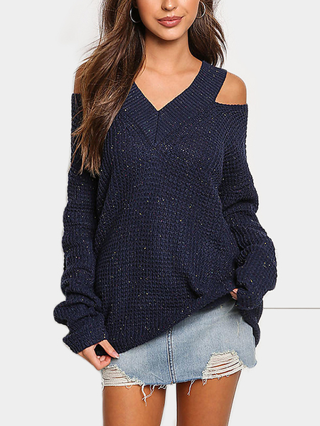 Yoins Navy Cold Shoulder V-neck Long Sleeves Sweater