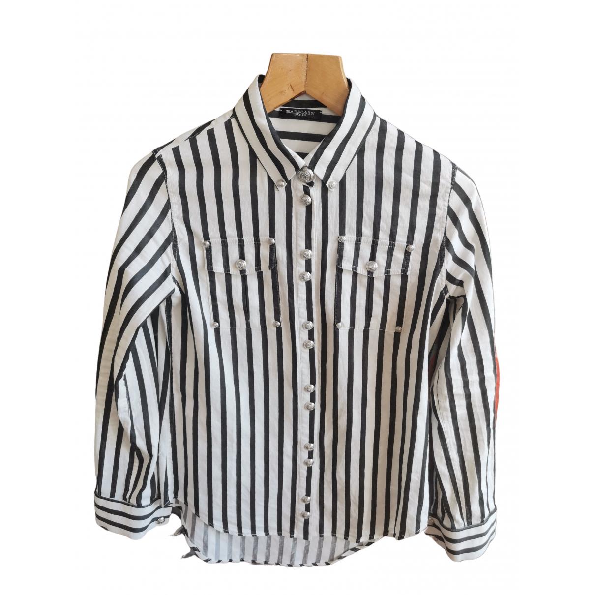 Balmain \N White Cotton Leather jacket for Women 36 FR