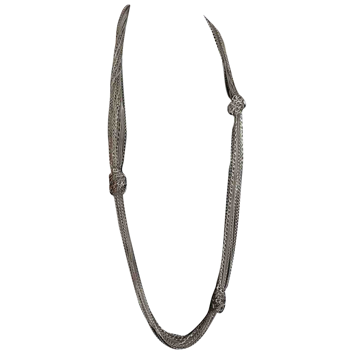 Chanel - Collier CC pour femme en acier - argente