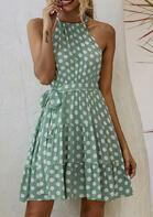 Polka Dot Ruffled Halter Tie Sleeveless Mini Dress - Light Green