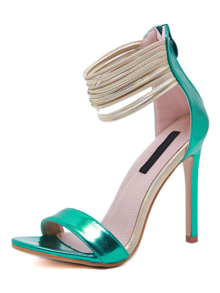 Milanoo High Heel Sandals Womens Teal Strappy Open Toe Ankle Strap Stiletto Heel Sandals