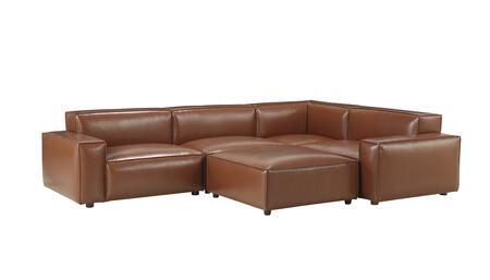 Bobby Berk Upholstered 539549-5103S5 Olafur 5pc Modular Sectional with Foam Cushion  Vegan Leather Upholstery and Track Arms in