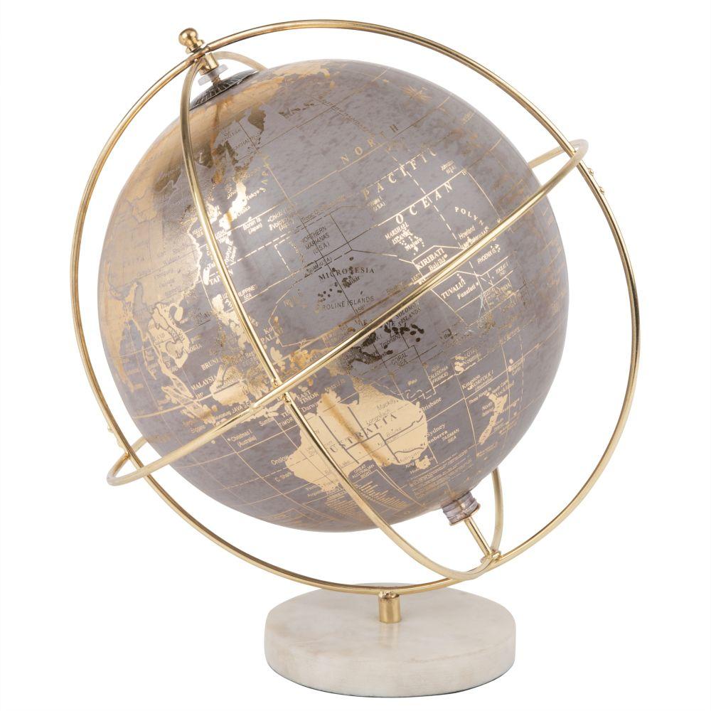 Globus, grau, goldfarben und weiss