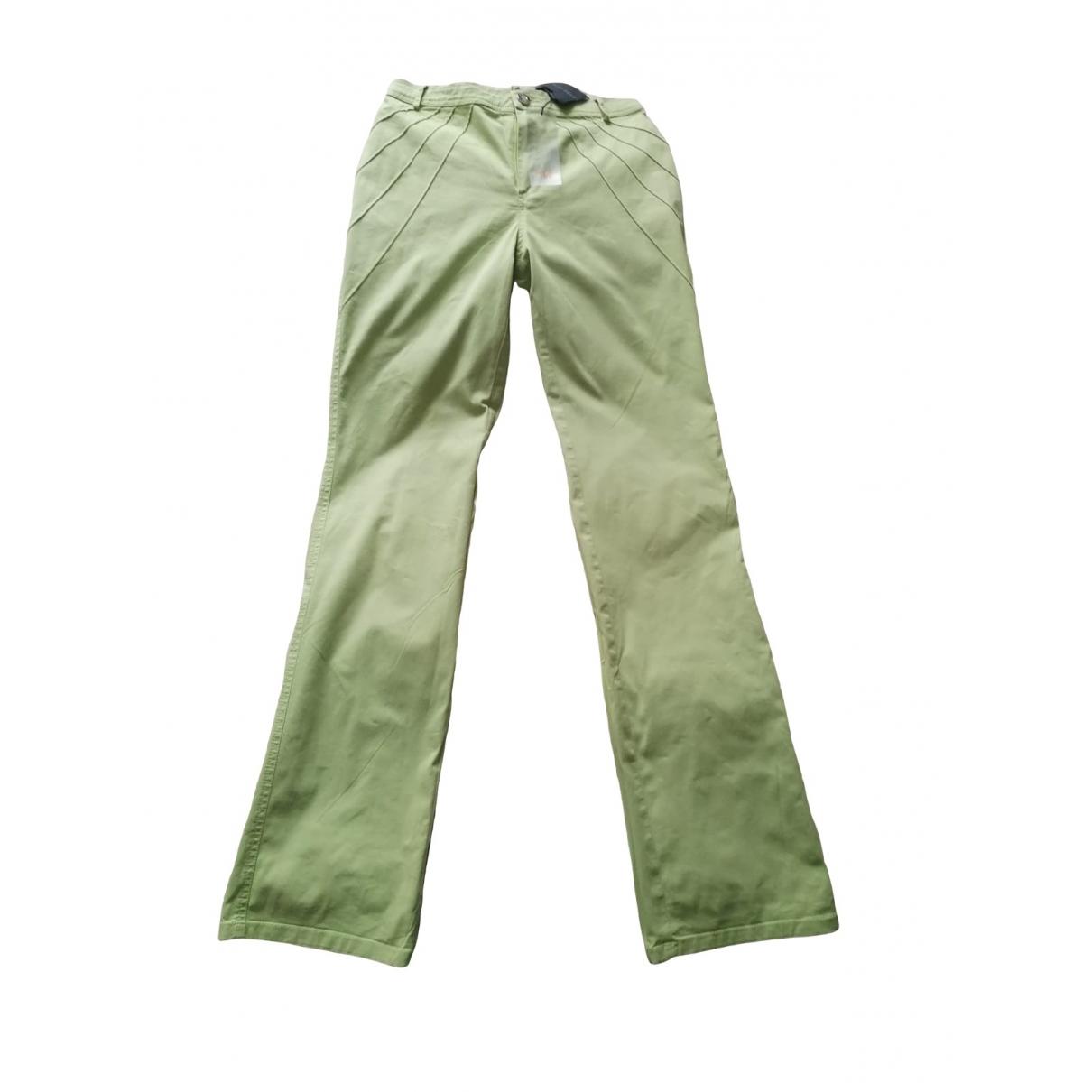 Mariella Rosati \N Green Cotton Trousers for Women 10 UK
