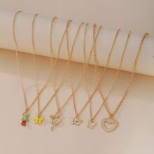 6pcs Butterfly & Heart Charm Necklace