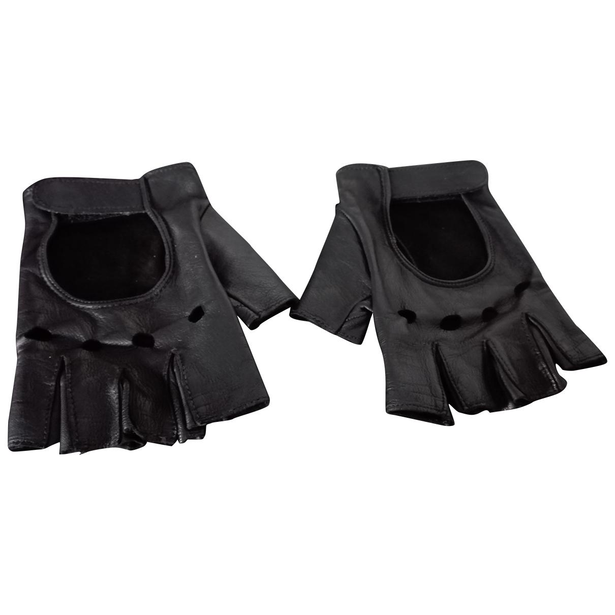 Non Signé / Unsigned \N Black Leather Gloves for Men M International