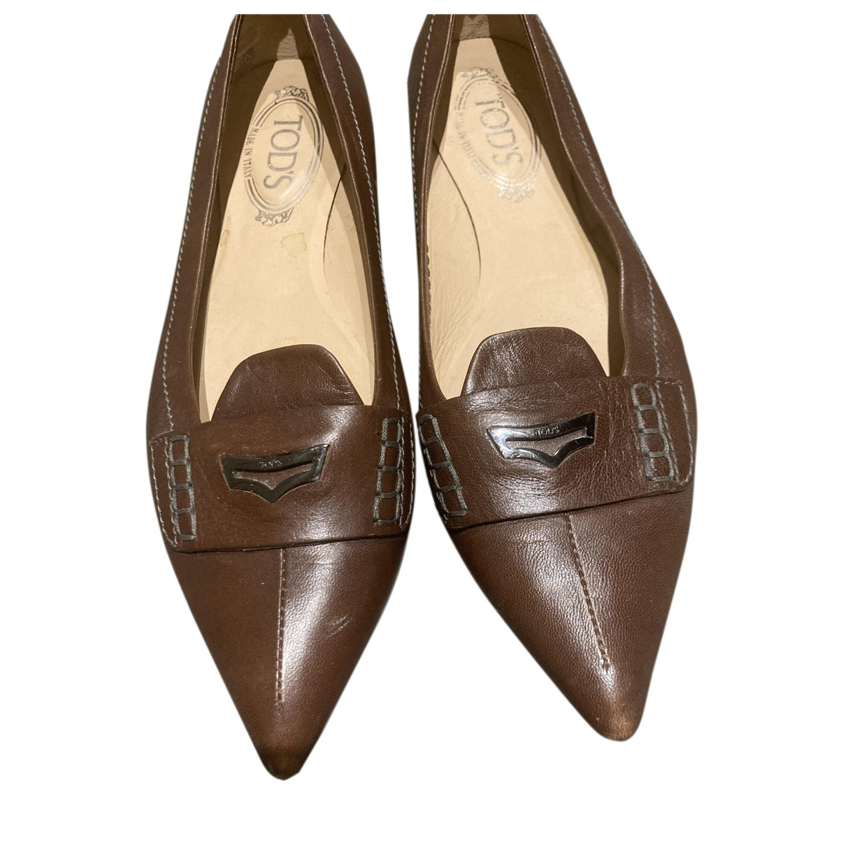 Tod's N Brown Leather Ballet flats for Women 39 EU