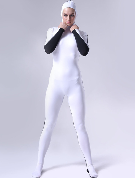 Milanoo Morph Suit Black And White Lycra Spandex Fabric Catsuit Open face Unisex Body Suit