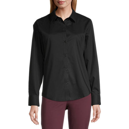 Liz Claiborne Womens Long Sleeve Poplin Dress Shirt, X-large , Black