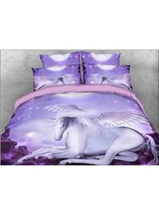 White Unicorn Microfiber Wrinkle/Fade Resistant 4-Piece 3D Purple Bedding Sets Durable Duvet/Comforter Cover with Non-slip Ties