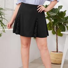 Plus Contrast Guipure Lace Skirt