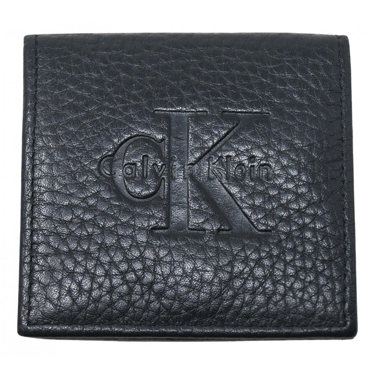 Calvin Klein - Petite maroquinerie   pour homme en cuir - noir