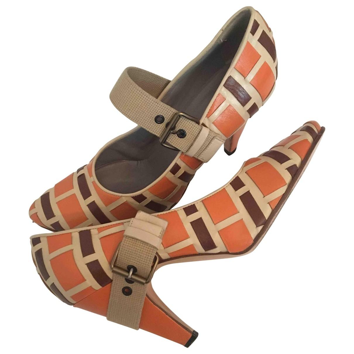 Miu Miu \N Orange Leather Heels for Women 38 EU