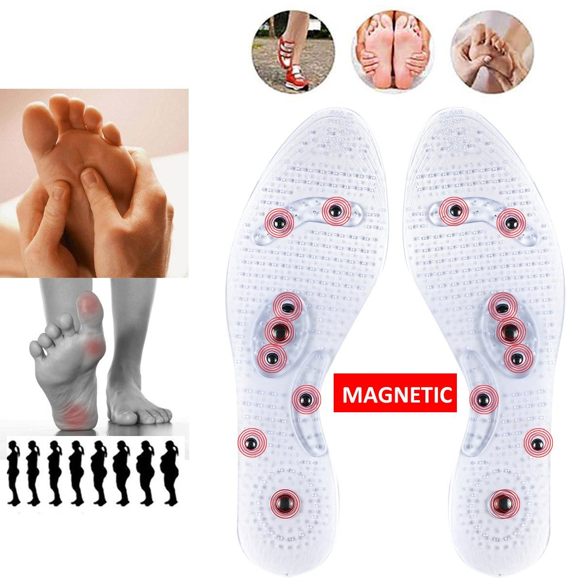 Acupressure Magnetic Massage Insole Elastomer Shock Absorption Pain Relief Foot Therapy Silicone Pads