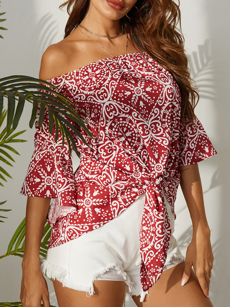 YOINS Red Tribal Off The Shoulder Half Sleeves Blouse