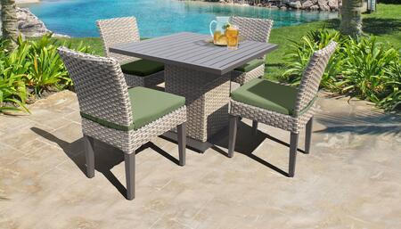 Monterey Collection MONTEREY-SQUARE-KIT-4ADCC-CILANTRO Patio Dining Set with 1 Table   4 Side Chairs - Beige and Cilantro