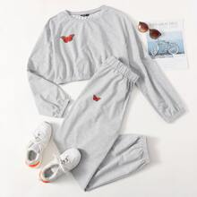 Crop Sweatshirt & Jogginghose mit Schmetterling Muster