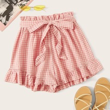 Plus Paperbag Waist Gingham Belted Shorts