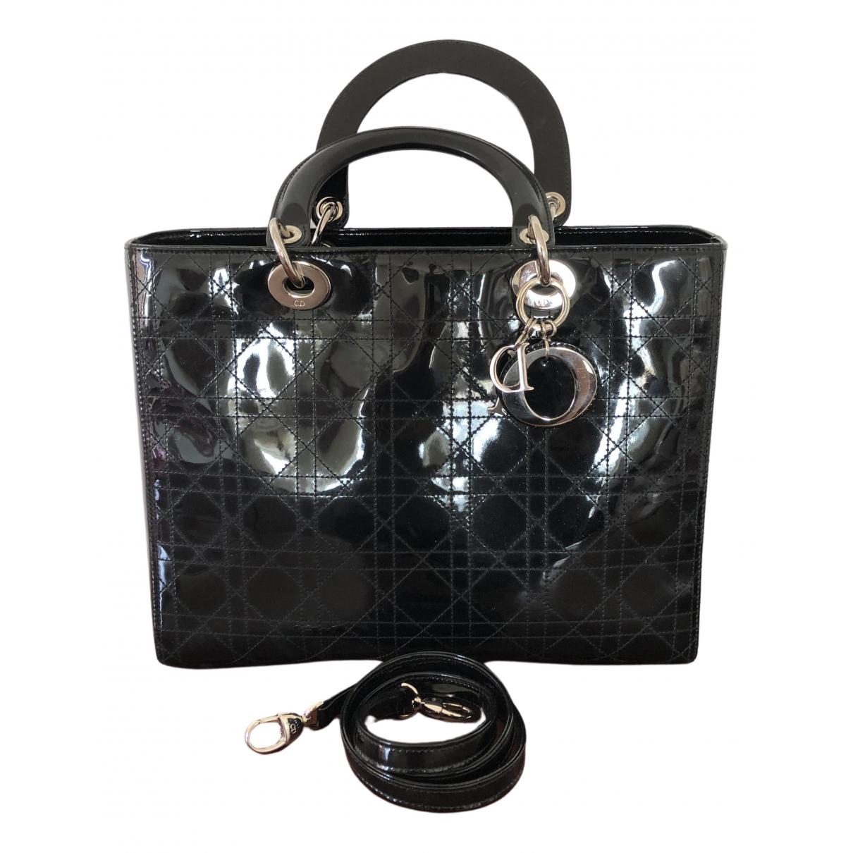 Dior - Sac a main Lady Dior pour femme en cuir verni - noir