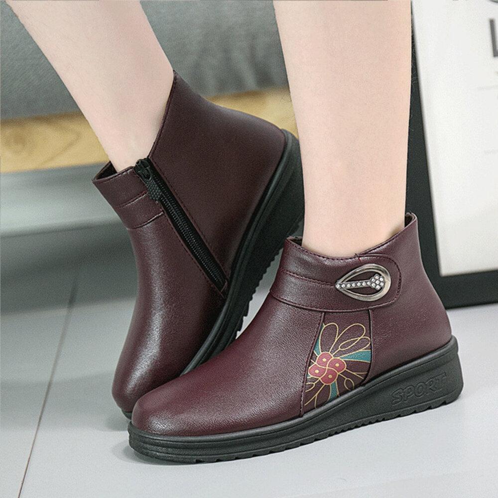 Flower Printing Rhinestone Hook Loop Zipper Warm Plush Lining Boots