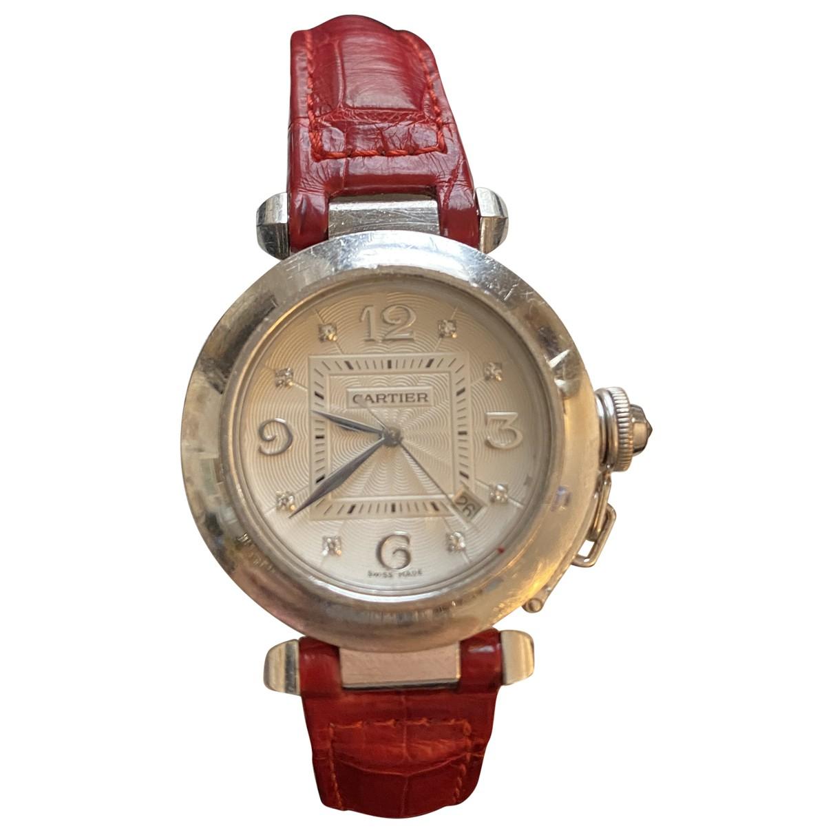 Cartier - Montre Pasha pour femme en or blanc - rouge