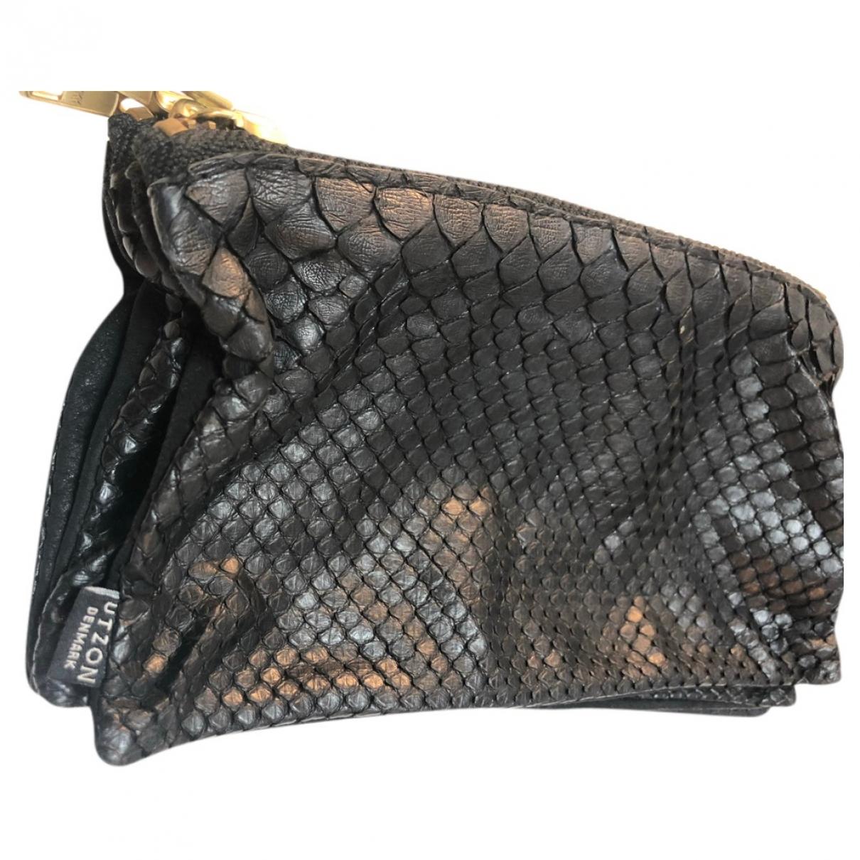 Utzon - Pochette   pour femme en cuir - noir
