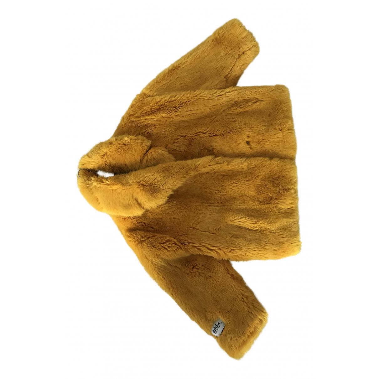 Jakke - Manteau   pour femme en fourrure synthetique - jaune