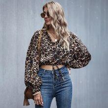 Blusas Volante Leopardo Casual