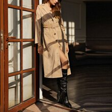 Button Front Belted Corduroy Coat