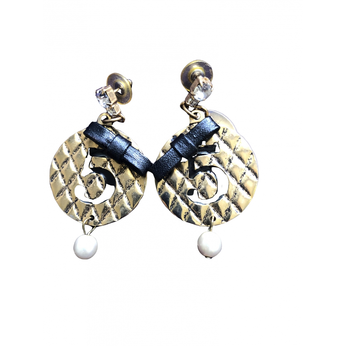 Non Signé / Unsigned Motifs Lettres Gold Metal Earrings for Women \N