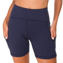 Queenieke shorts biker de cintura ancha con bolsillo de movil