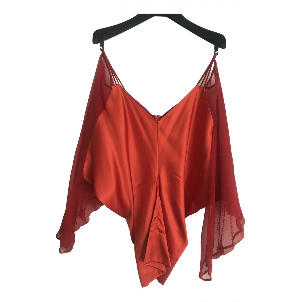 Jean Paul Gaultier - Top   pour femme en soie - rouge
