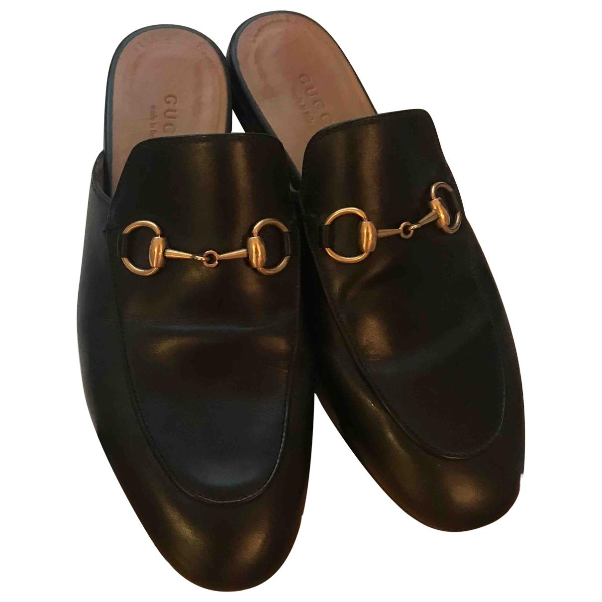 Gucci Princetown Black Leather Flats for Women 35 EU