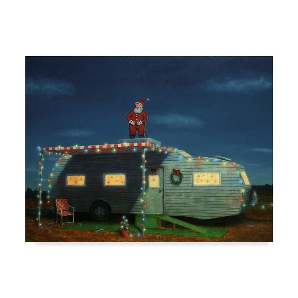 James W. Johnson 'Trailer House Christmas' Canvas Art - Multi-color (24 x 32)