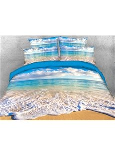 Calm Beach Under The White Clouds 3D Printed 4-Piece Polyester Bedding Sets/Duvet Covers Colorfast Wear-resistant Endurable Skin-friendly All-Season