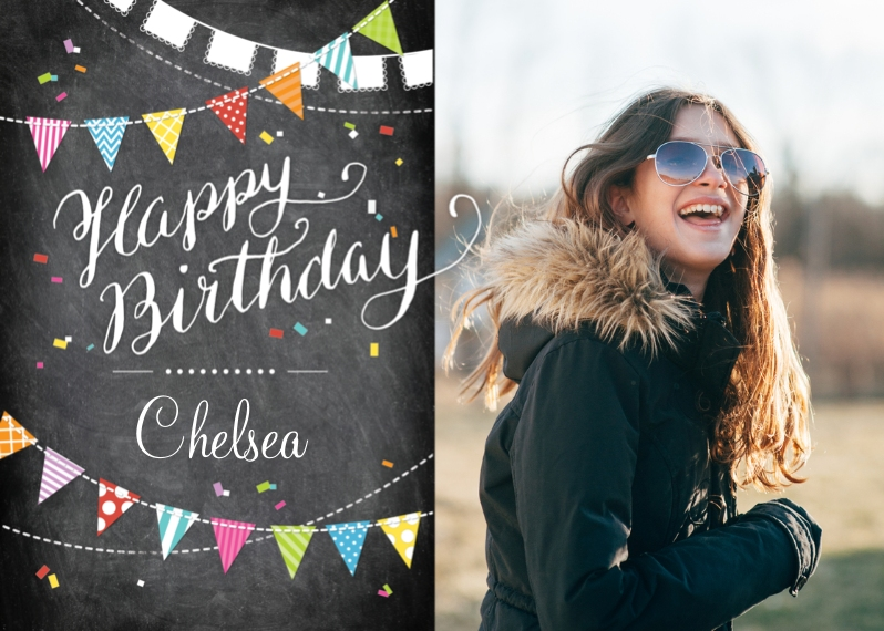 Birthday Greeting Cards 5x7 Folded Cards, Premium Cardstock 120lb, Card & Stationery -Birthday Flags Chalkboard