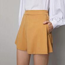 Shorts unicolor de cintura alta