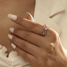 Faux Pearl Decor Cuff Ring