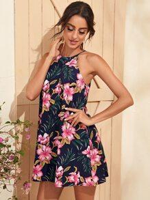 Tropical Print Halter Dress