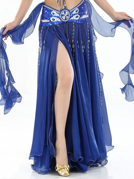 Milanoo Disfraz Halloween Danza del vientre Falda larga Volantes Mujeres de corte alto Ropa de baile plisada Carnaval Halloween