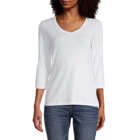 St. John's Bay-Womens V Neck 3/4 Sleeve T-Shirt, Small , White