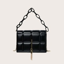 Bolso cartera con cadena guateado con fleco