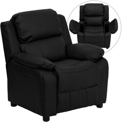 Deluxe Collection BT-7985-KID-BK-LEA-GG Deluxe Heavily Padded Contemporary Black Leather Kids Recliner with Storage
