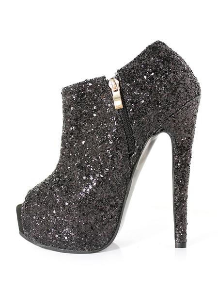 Milanoo Women Black Booties Glitter Peep Toe Zip Up High Heel Short Booties