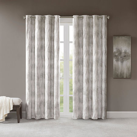 Sunsmart Alastair Jacquard 100% Blackout Grommet-Top Single Curtain Panel, One Size , Gray