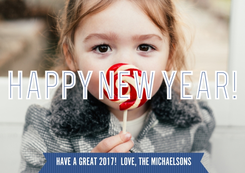 New Year's 5x7 Cards, Premium Cardstock 120lb with Scalloped Corners, Card & Stationery -Banner Year