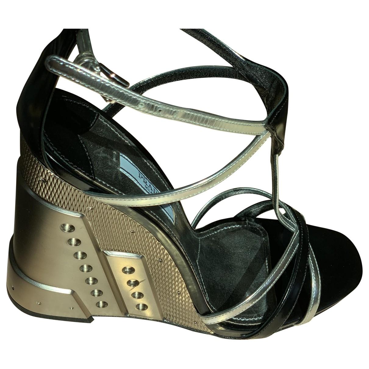 Prada \N Silver Leather Sandals for Women 38 EU