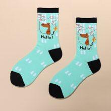 1 Paar Socken mit Karikatur Grafik